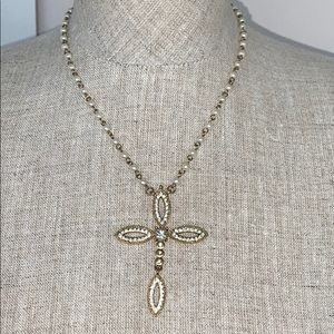 Guess gold tone cross necklace with pearl details